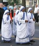 Missionaries of charity in their traditional Sari